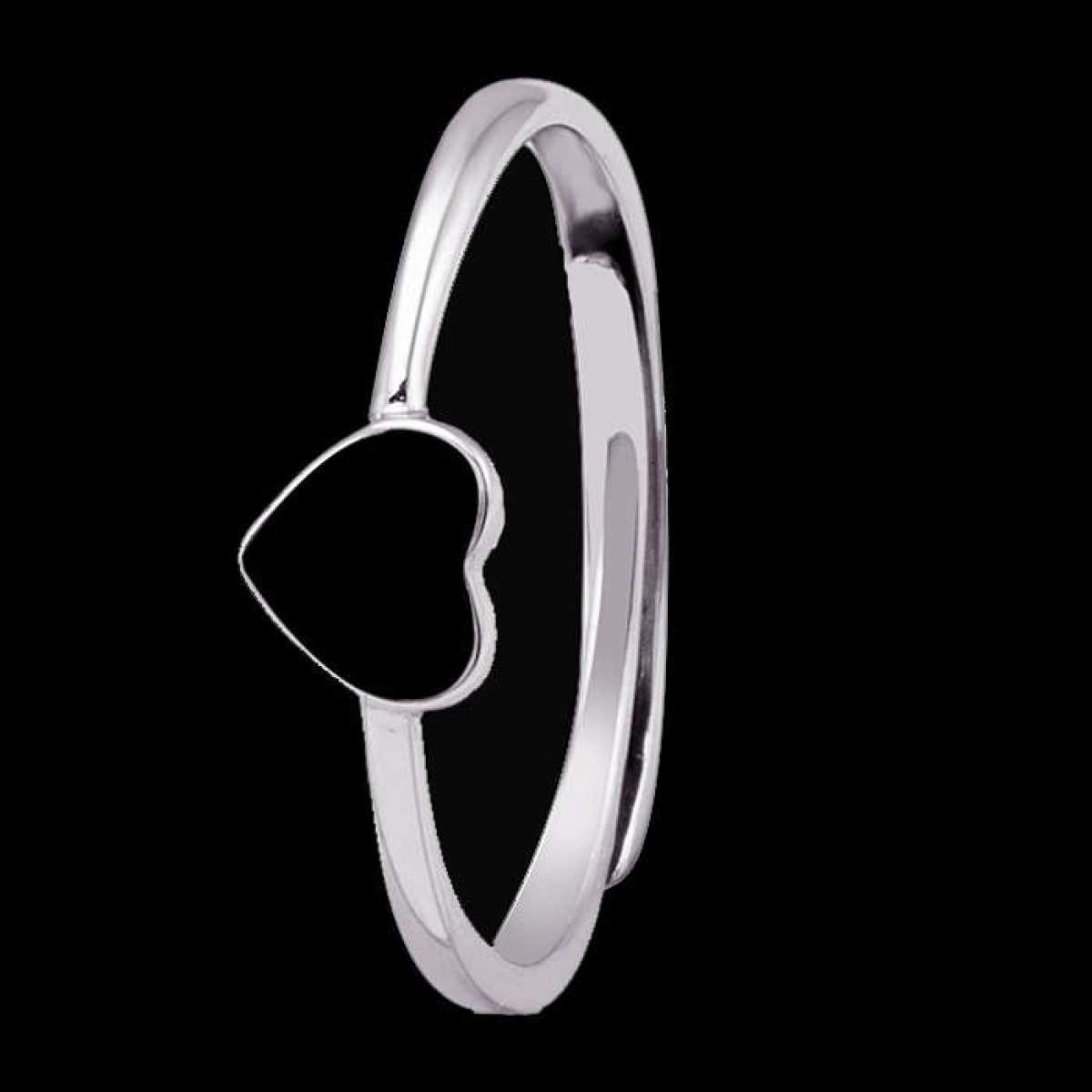 Heart with Black Color Silver Ring