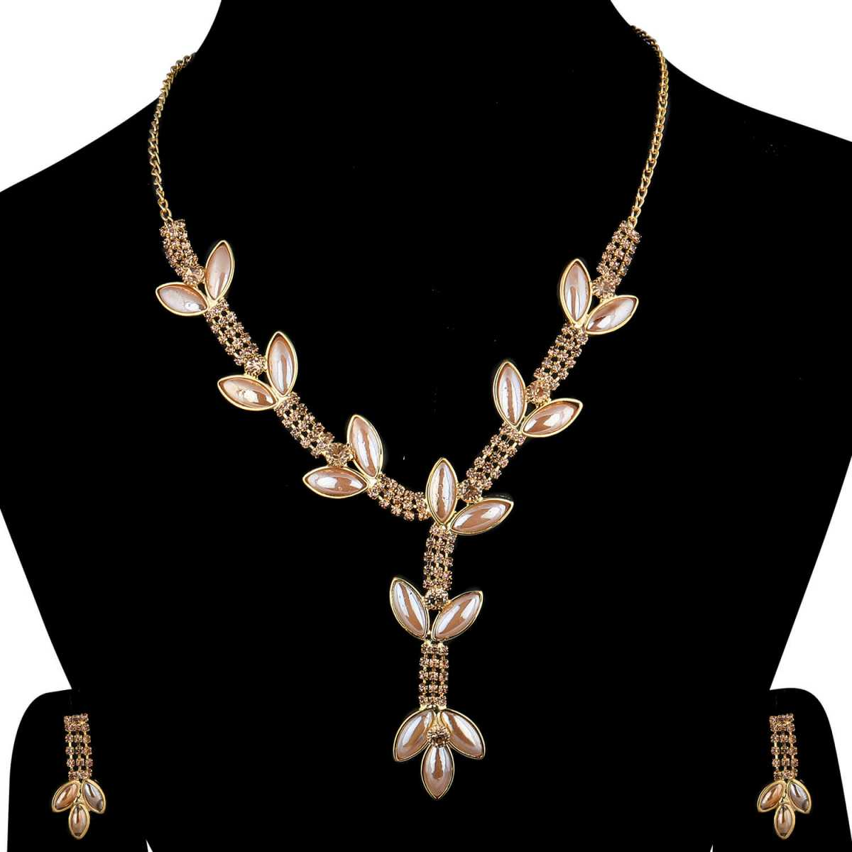 SILVERSHINE Goldplated Traditional Golden leaves And pearl Necklace set  for women jewellery
