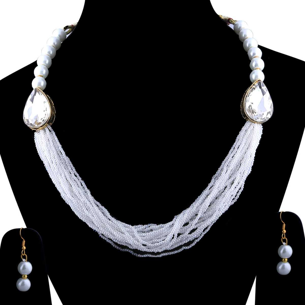 SILVERSHINE Exclusive Designer Traditional Multi Layer Pearl Mala Set For Women And Girls