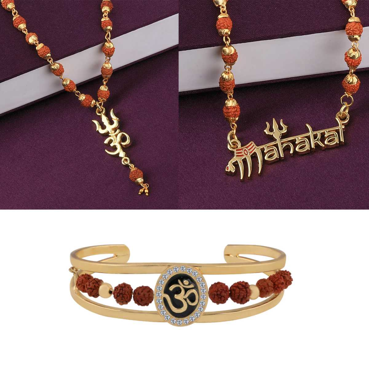 SILVER SHINE Gold Plated Traditional Combo Rudraksh Mala and Kada Pendant for Men and Women-Set 3