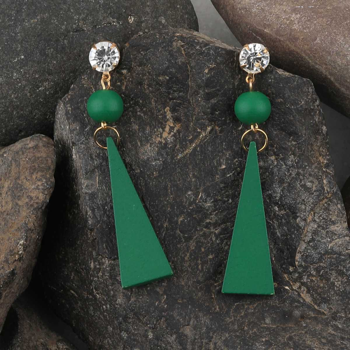SILVER SHINE Beautiful Stylish Diamond Green Wooden Light Weight Dangler Earrings for Girls and Women.