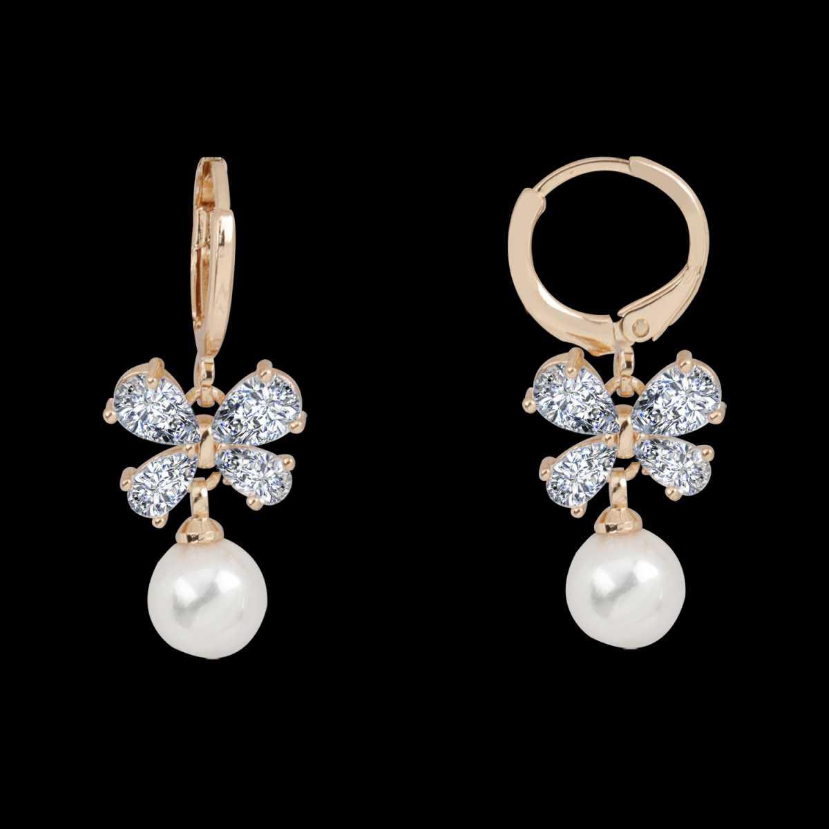 Silver Shine Ultrafancy Golden Butterfly Clip On Bali Earring for Women