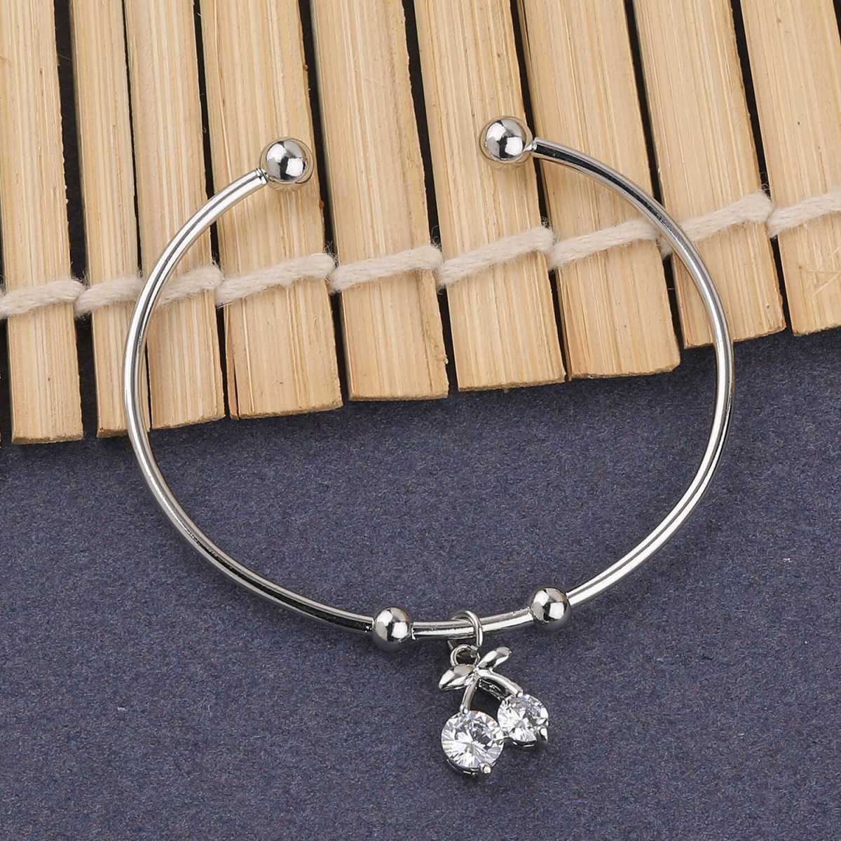 SILVER SHINE Antique Silver Plated Adjustable Diamond Bracelet For Women Girls