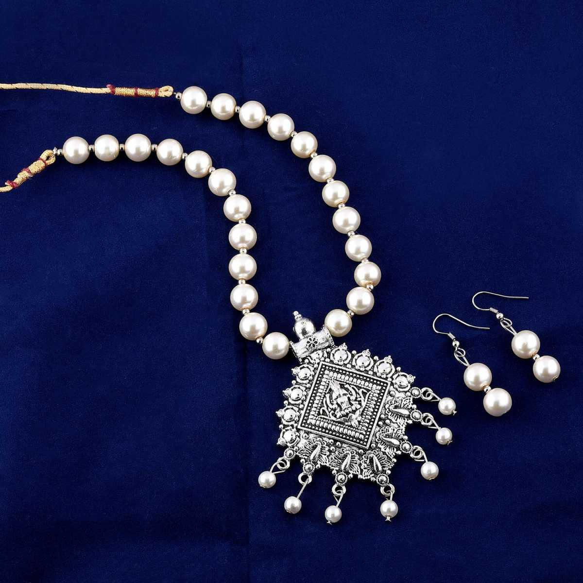 Amazing Oxidised Pendant White Pearl Drop Jewellery set for Women