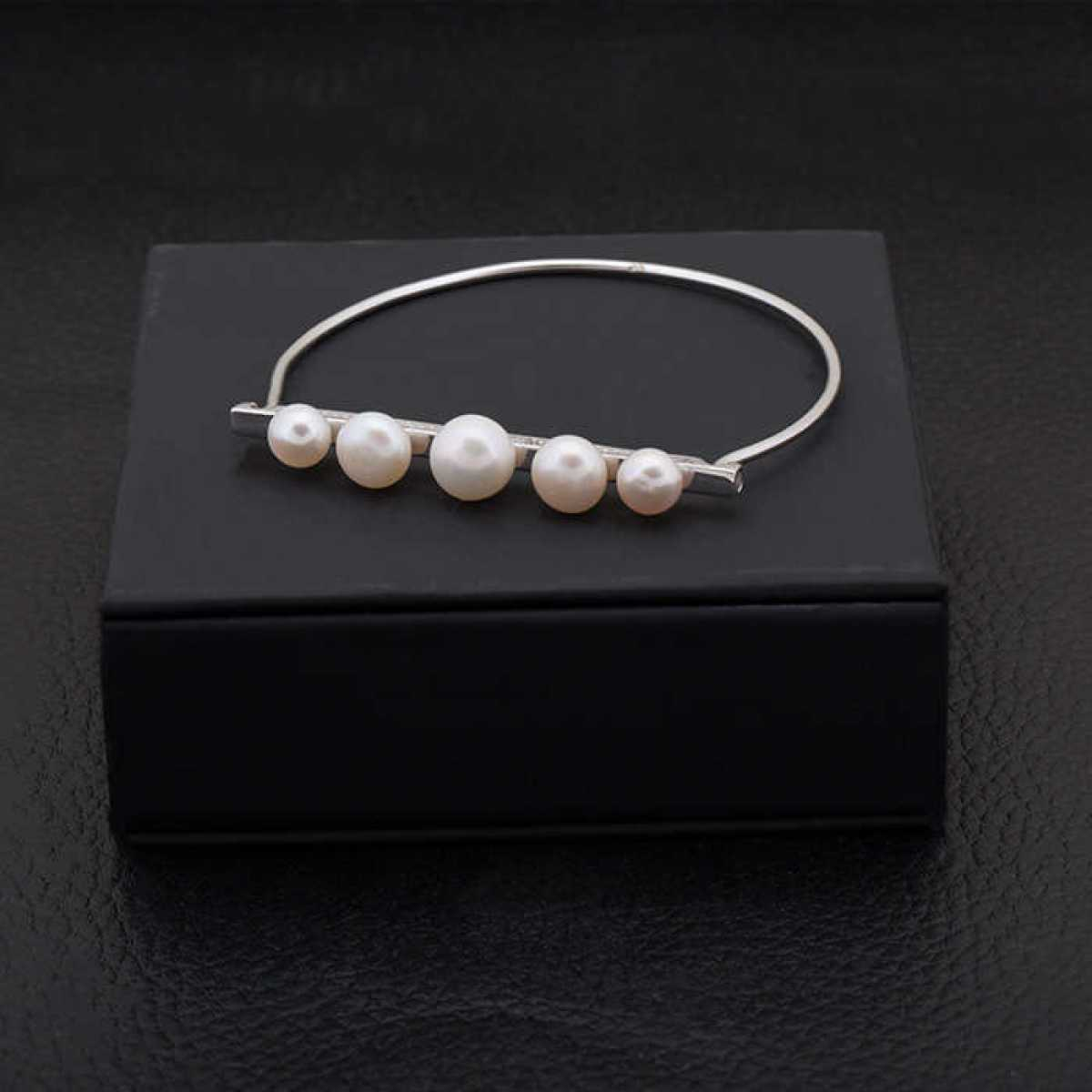 Party Wear Pearl Silver Hard Bracelet