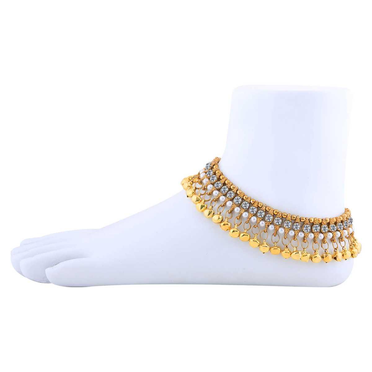 SILVER SHINE Golden Ethnic Ghungroo Kundan Alloy Anklet For Girl And Women