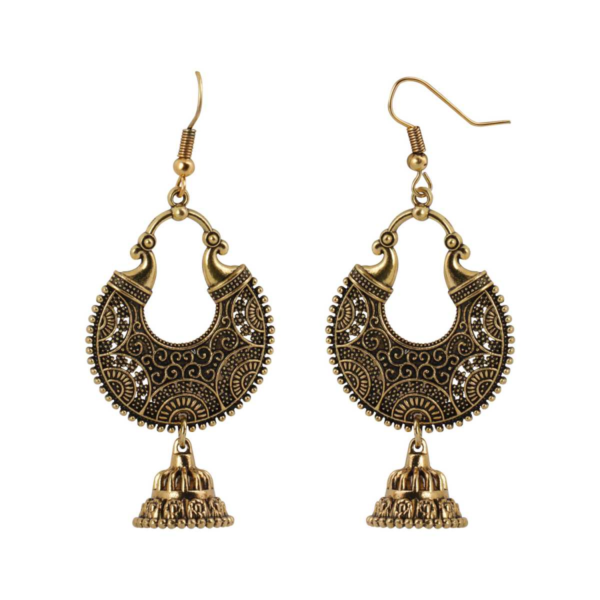 Silver Shine Eye-Catching Chandbali Unique Golden Earrings for Women