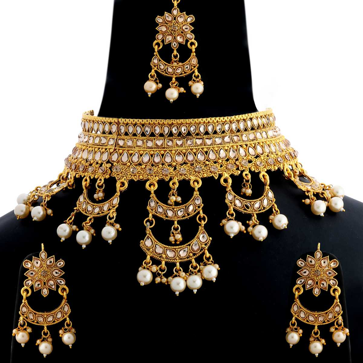 Silver Shine Gold Plated Traditional Choker Royal Queen Stone Studded Multi Pearl Drop Designer Wedding Necklace jewellery set for Girls And Women