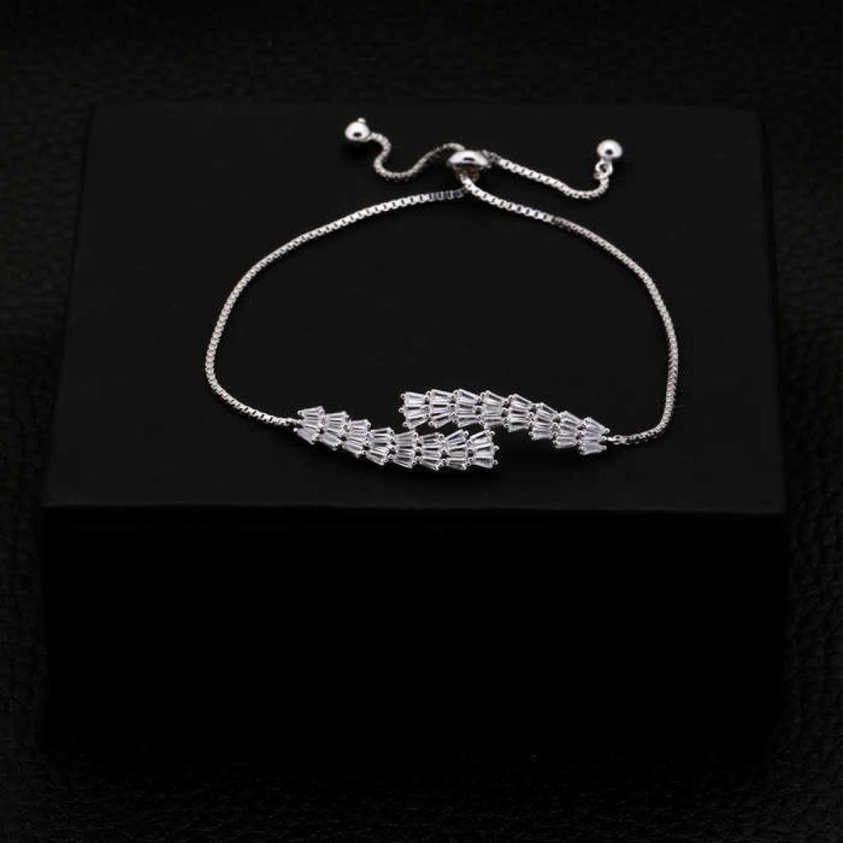 D For Diamond Silver Chain Bracelet