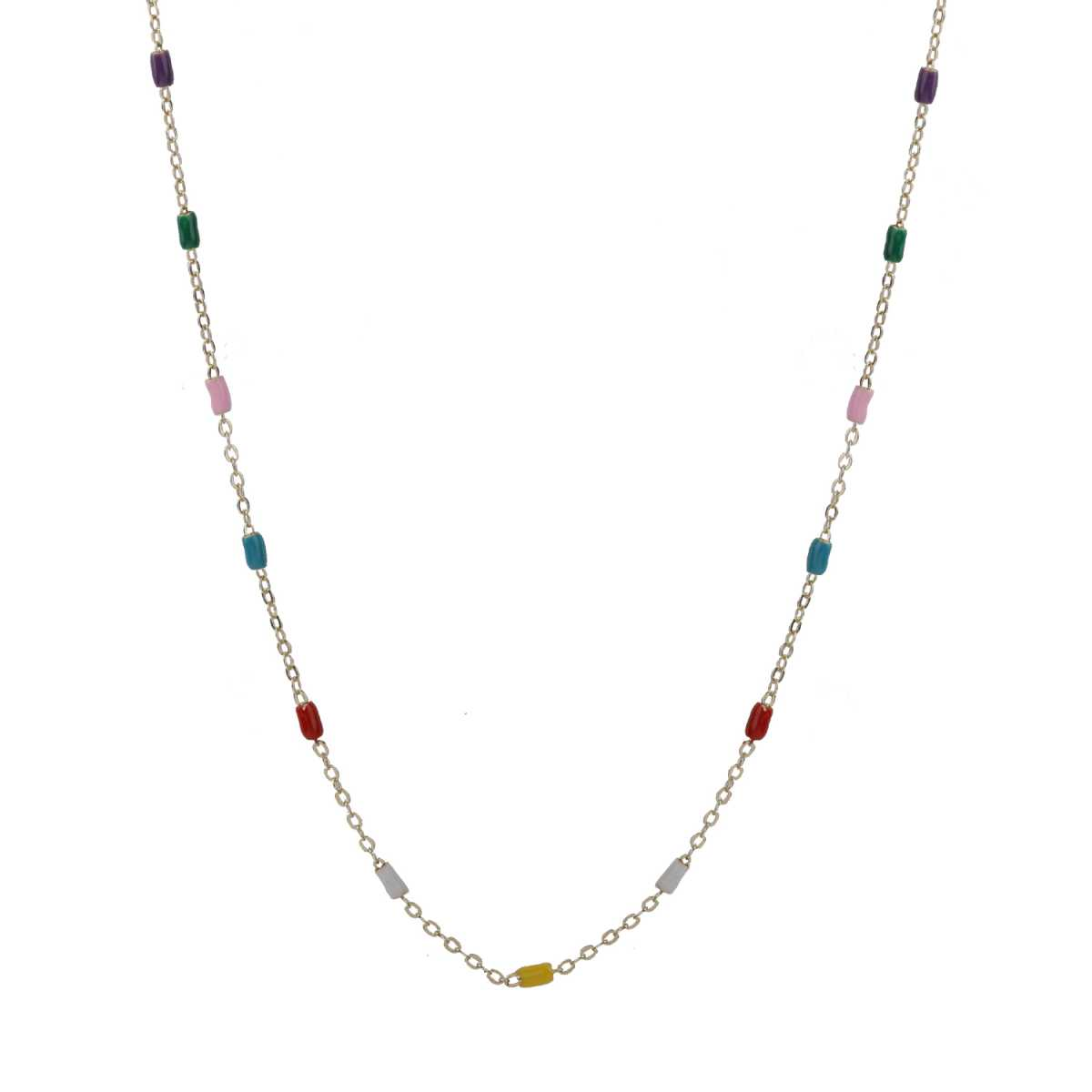Stunning Gold 18 Inch Chain With Multi-Color Beads For Girls And Women Jewellery