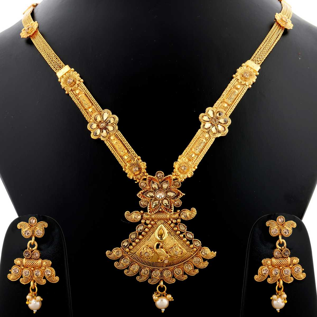 Silver Shine Exclusive Traditional Gold Plated   high Reflects elegance Designer Ethnic Long Necklace Set  Jewellery  For Women And Girls