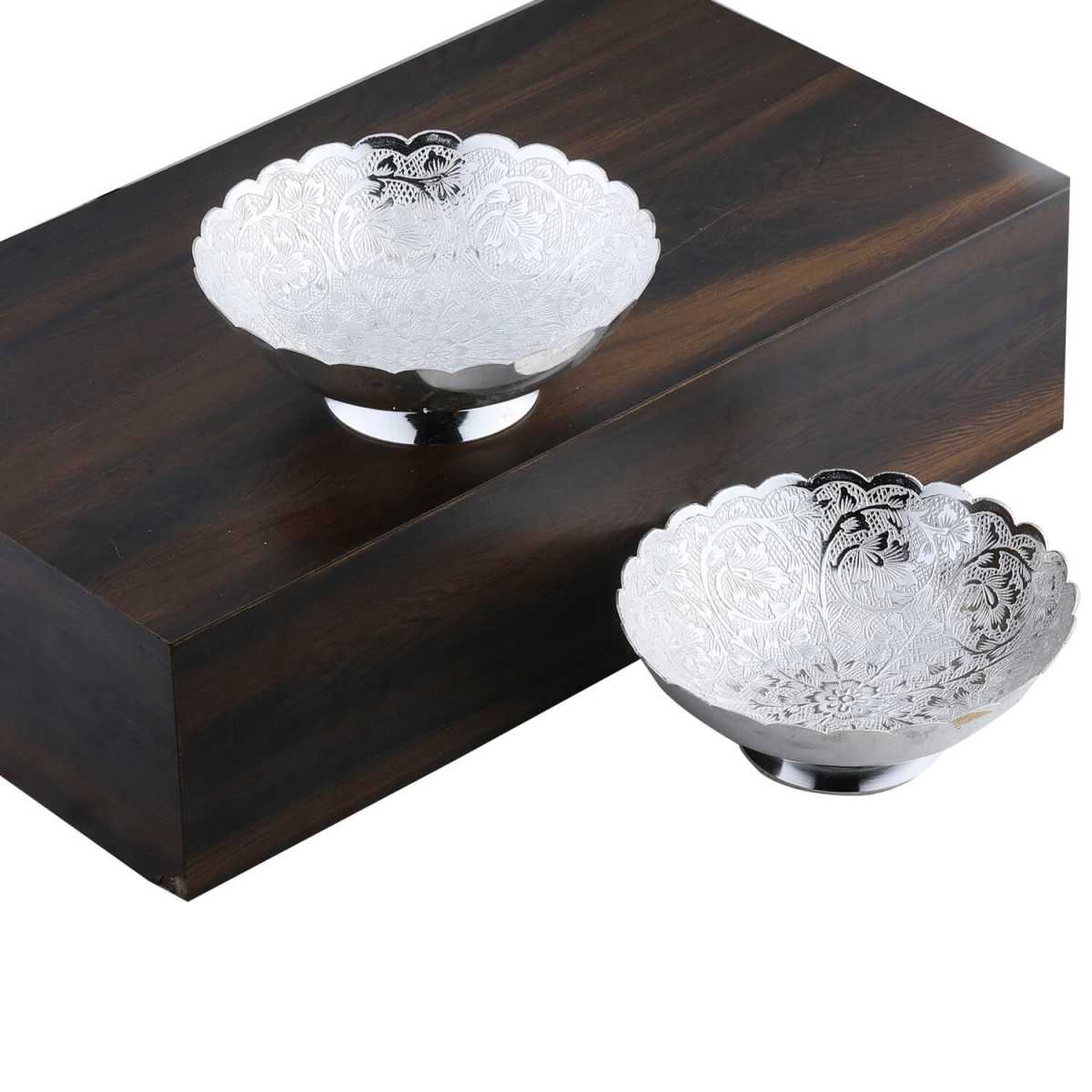 Silver Shine Gold And Silver Plated Decorative Bowl  Set For Gift-Set of 2