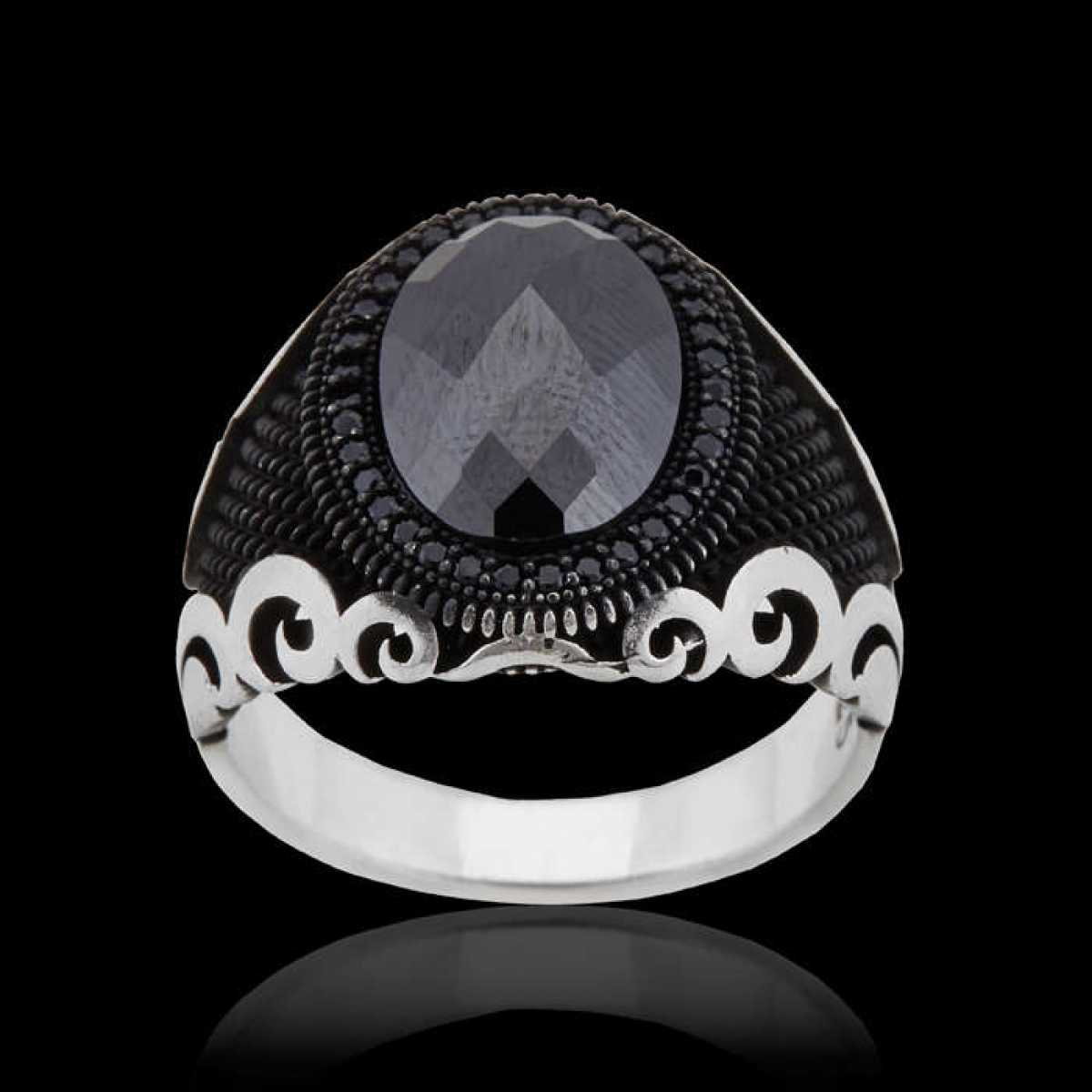 Silver Shine 92.5 Sterling Silver  Black Diamonds Silver Ring  for Mens