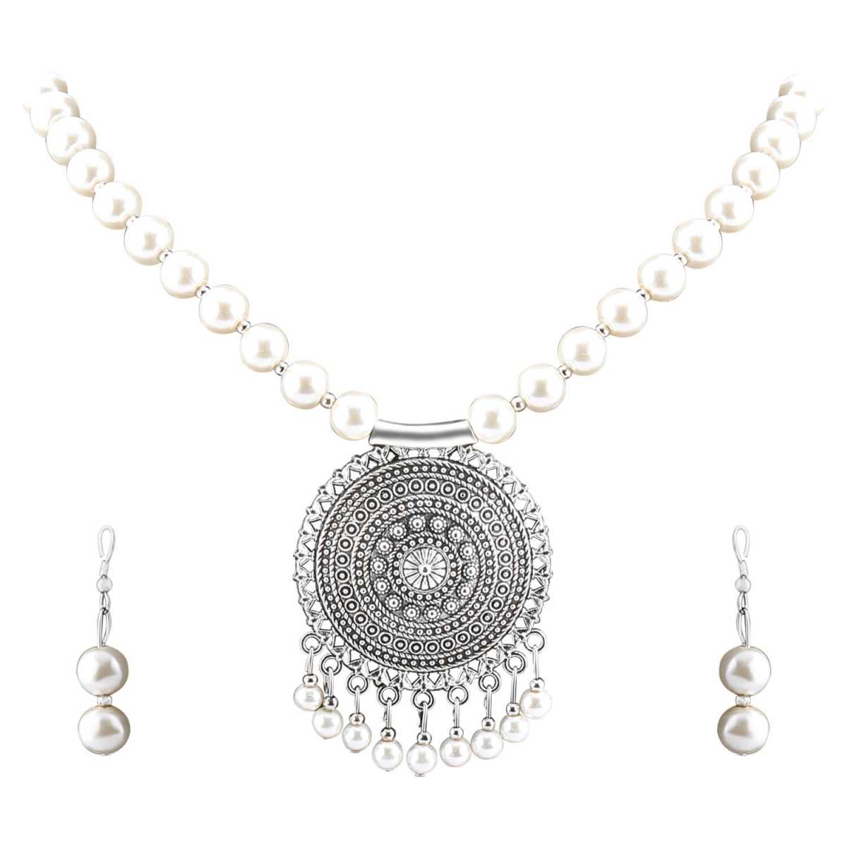 Elegant Oxidised Pendant White Pearl Jewellery set for Women