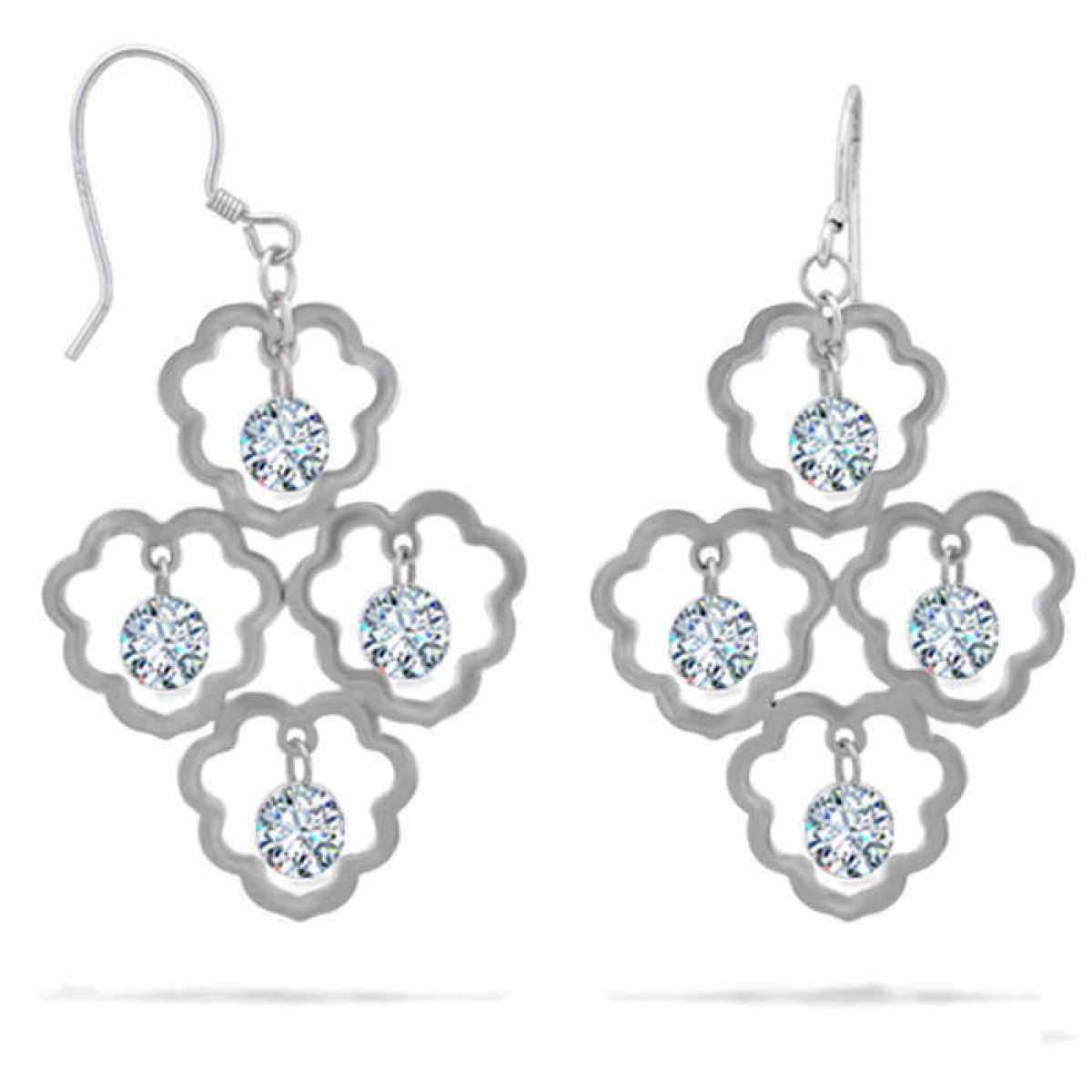 Delicate Silver Drop Earring With Diamond Earring