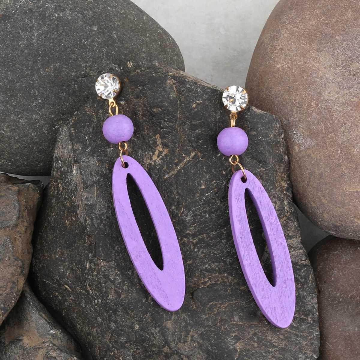 SILVER SHINE Fashion Earring Designer Dangler Purple Wooden Light Weight Earrings for Girls and Women.