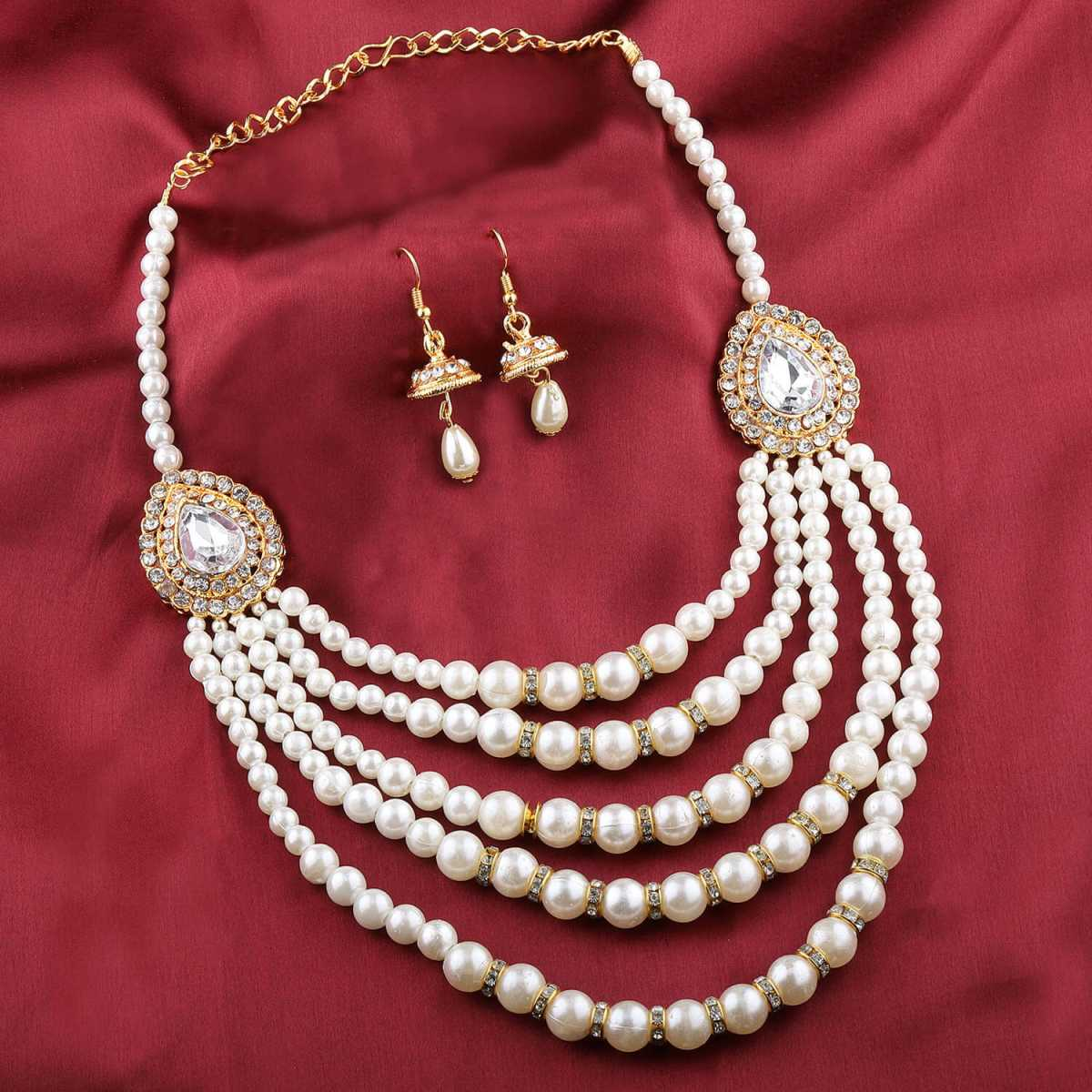 Exclusive Traditional Designer Diamond Studded Multi Layer White PearlMala Set For Women Jewellery