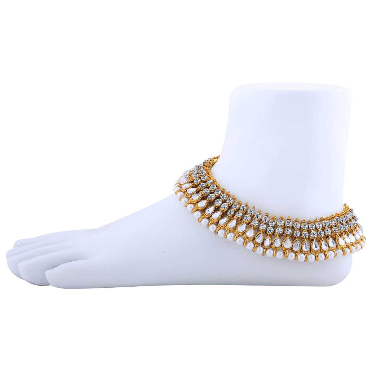 SILVER SHINE Charms Golden White Antique  Kundan Anklet For Women And Girl.