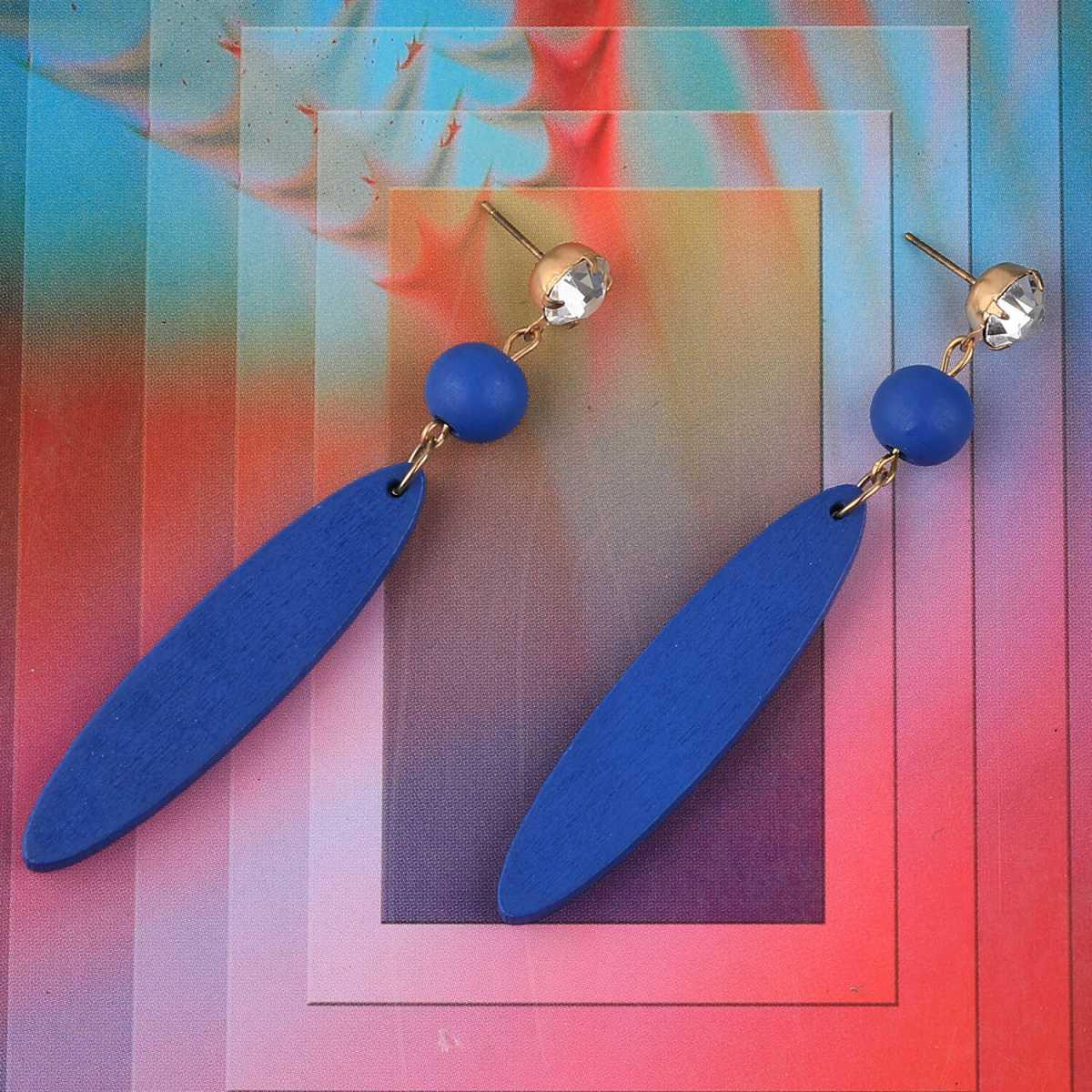 SILVER SHINE Stylish Dangler Blue Wooden Earrings Light Weight Fashion Earring For Girls and Women