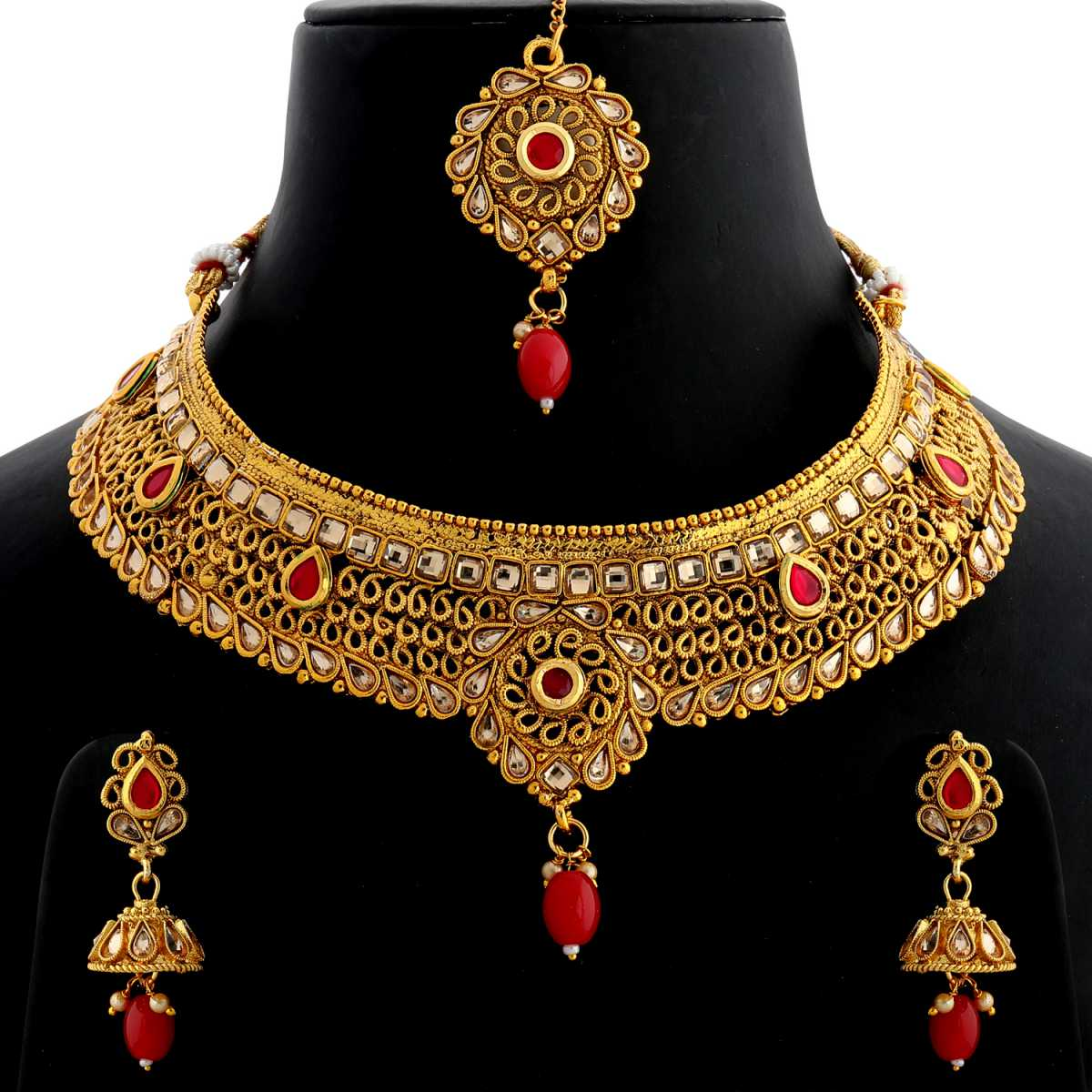 Silver Shine Gold Plated Choker  Traditional Elegant Kundan Red Stone Studded and Red Bead Drop Designer Wedding Necklace jewellery set for Girls And Women