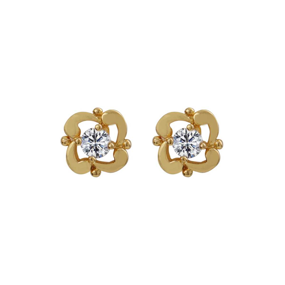 Silver Shine Charming Gold Superb Polished Stud Earring With Diamond For Girl And Women