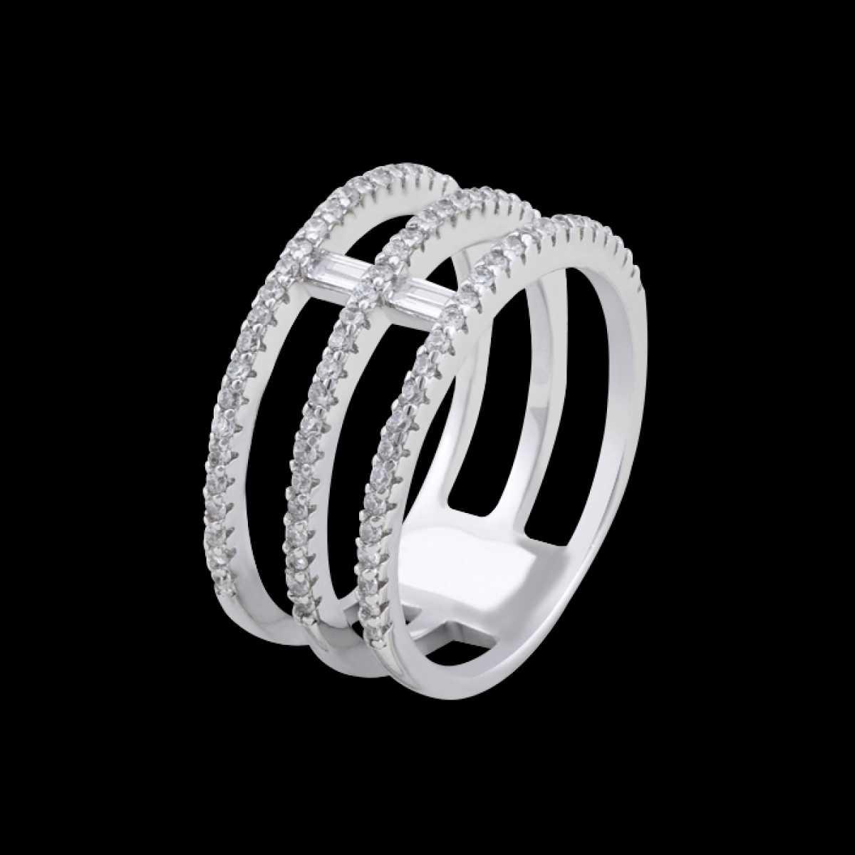 Three Circle With Diamons Silver Ring