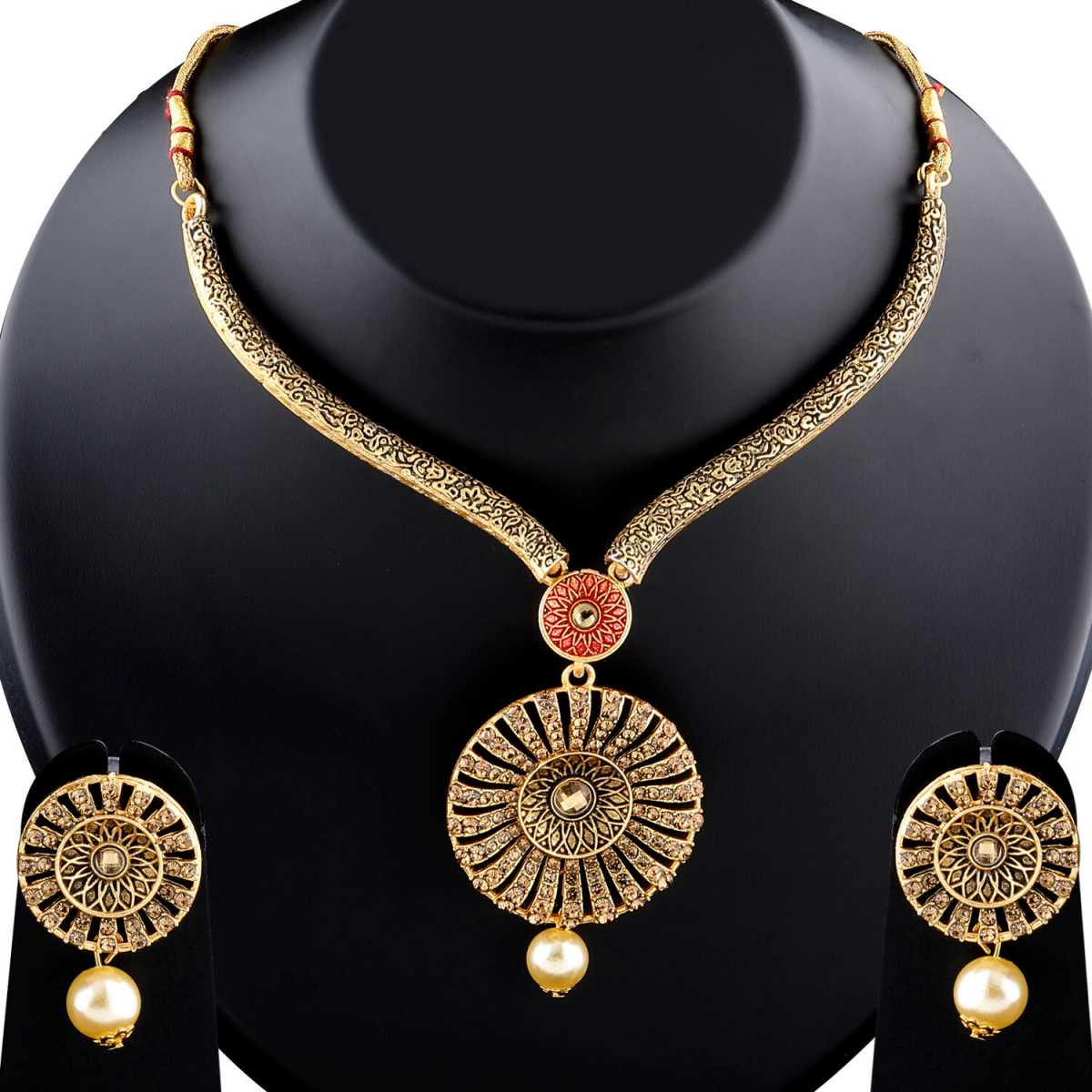Classic Traditional GoldPlated Diamond Studded Pearl Drop Hasli Necklace Set for Women Jewellery
