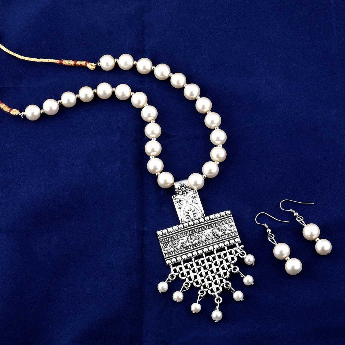 Exclusive Oxidised Pendant White Pearl Drop Jewellery set for Women