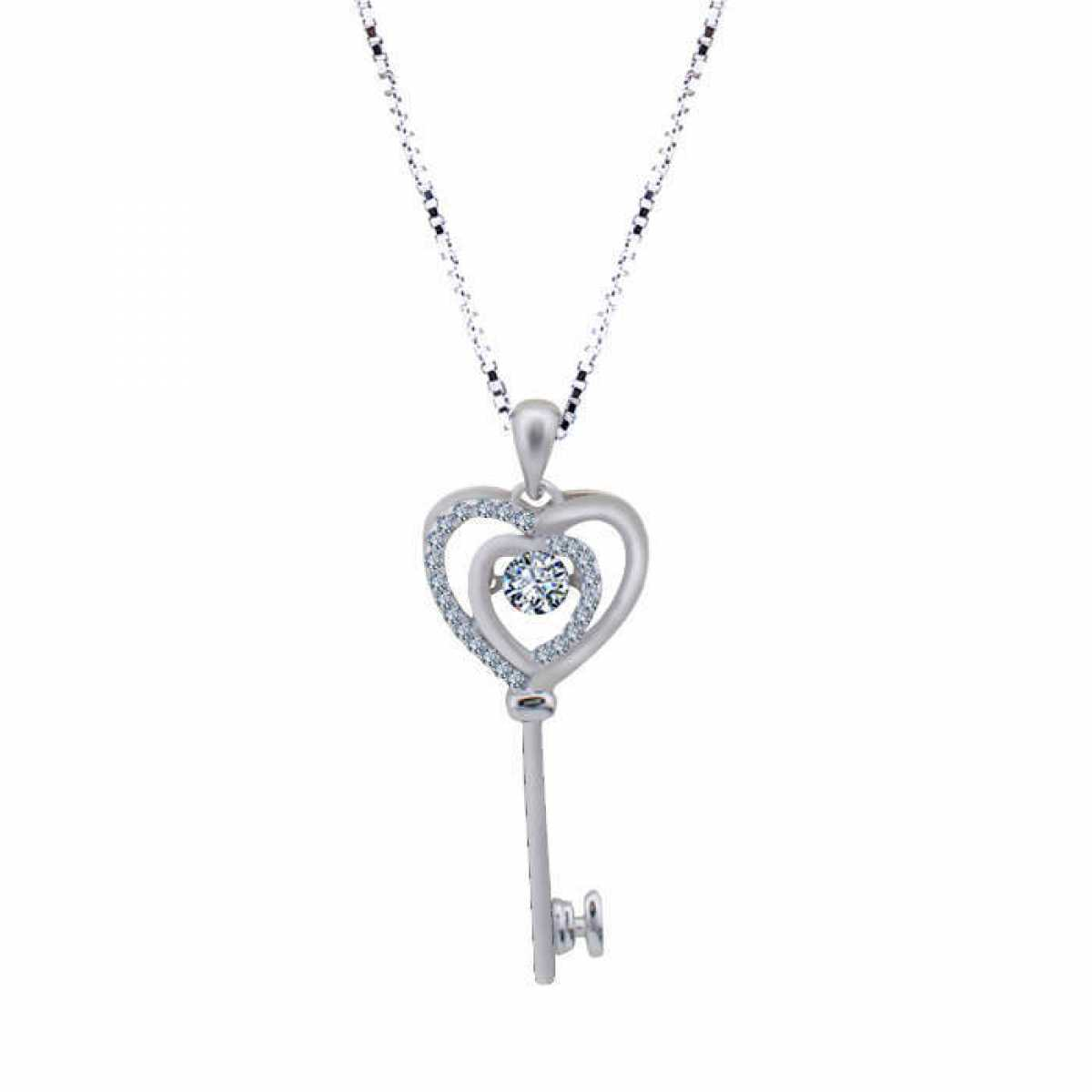 Love Key Double Heart Chain