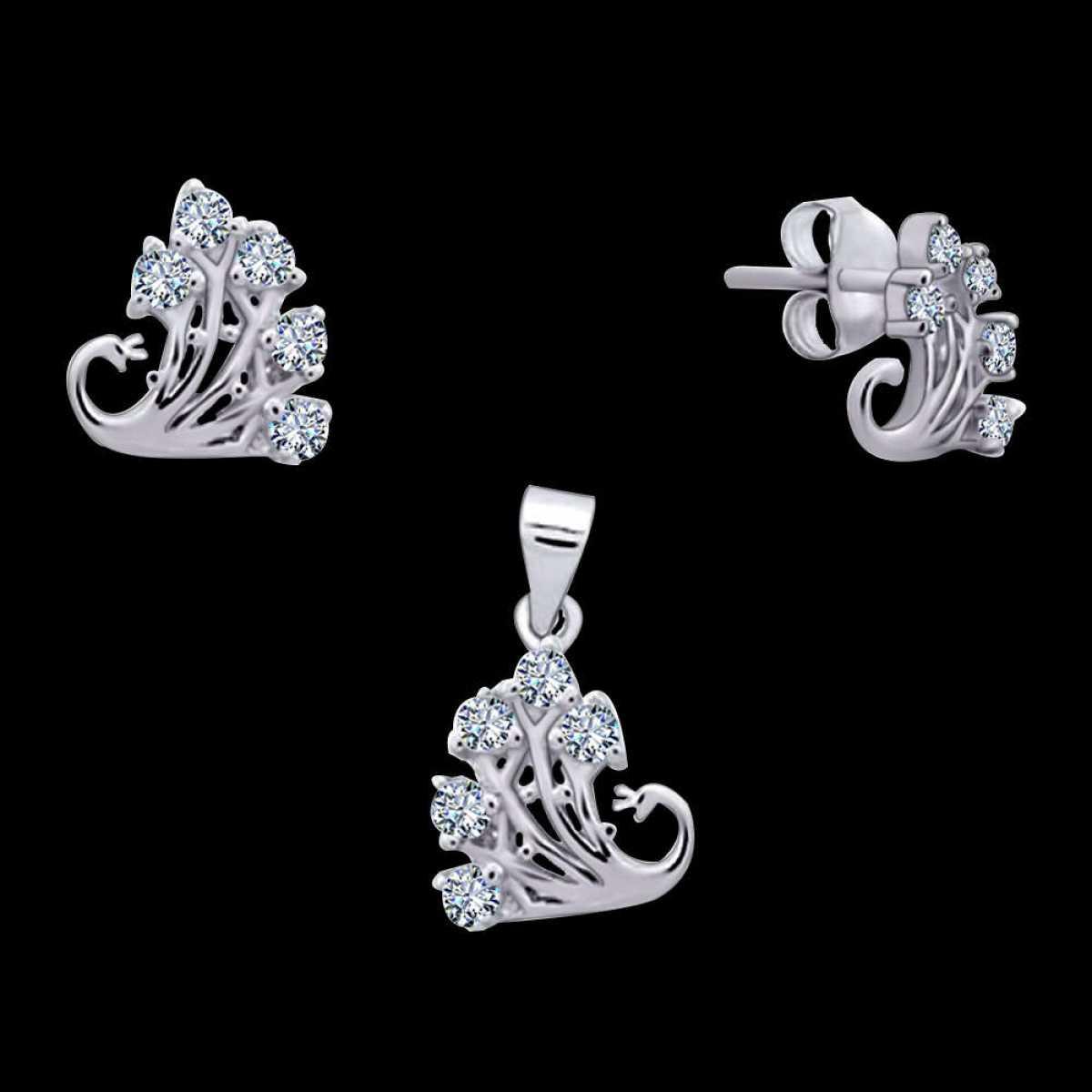 Combination Five Diamond Pendant Set