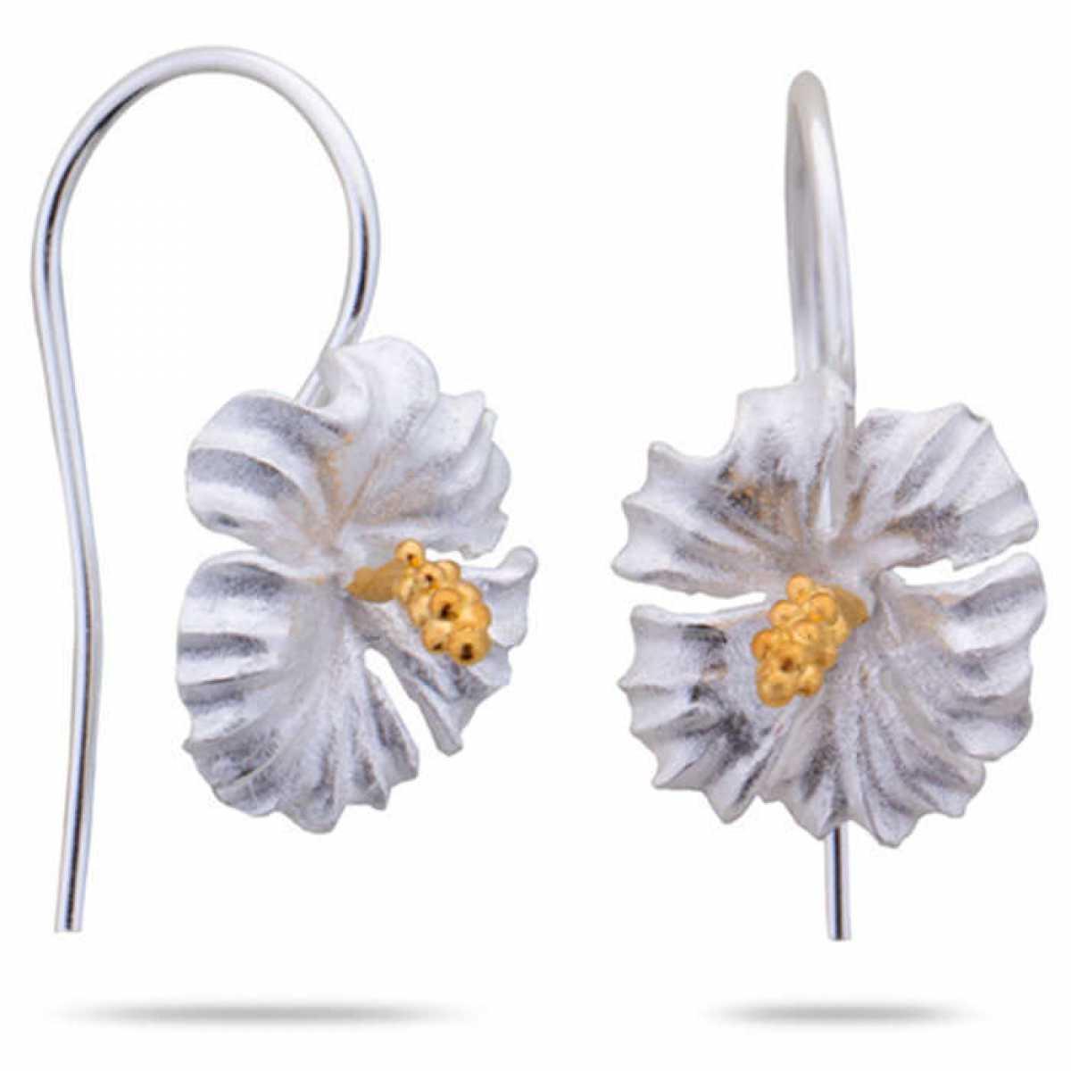 Flower Drop Silver Earring