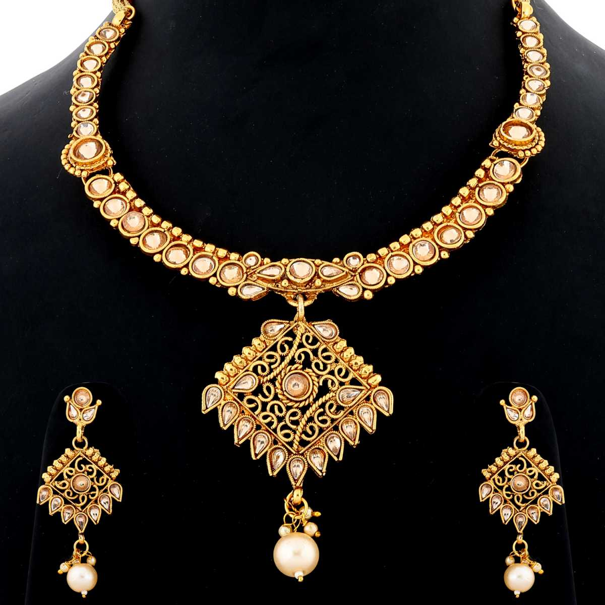 Silver Shine Unique Gold Plated Traditional Diamond Studded Royal Parey wear Design Pearl Drop Designer Wedding Necklace jewellery set for Girls And Women