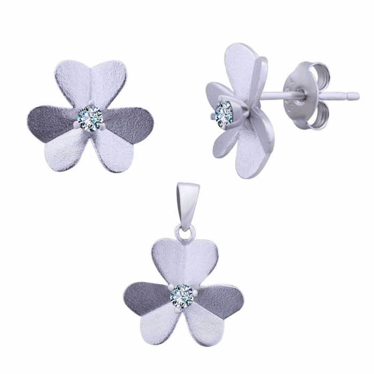 Silver Flower Pendant Set