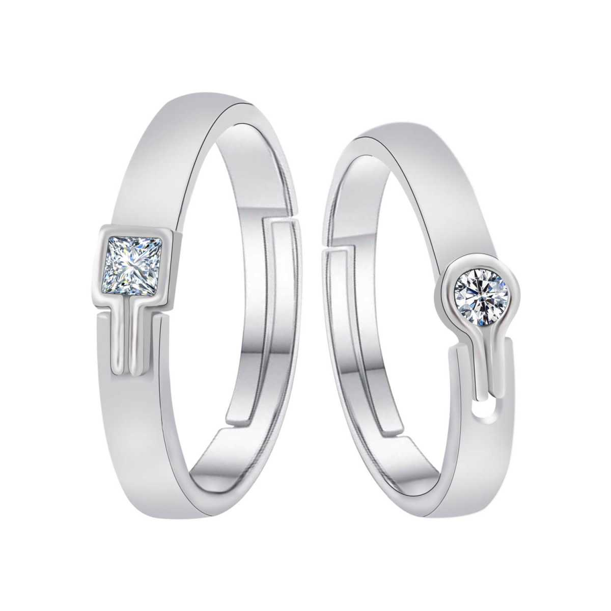 Silverplated Amazing  Adjustable proposal couple ring For Men And Women Jewellery