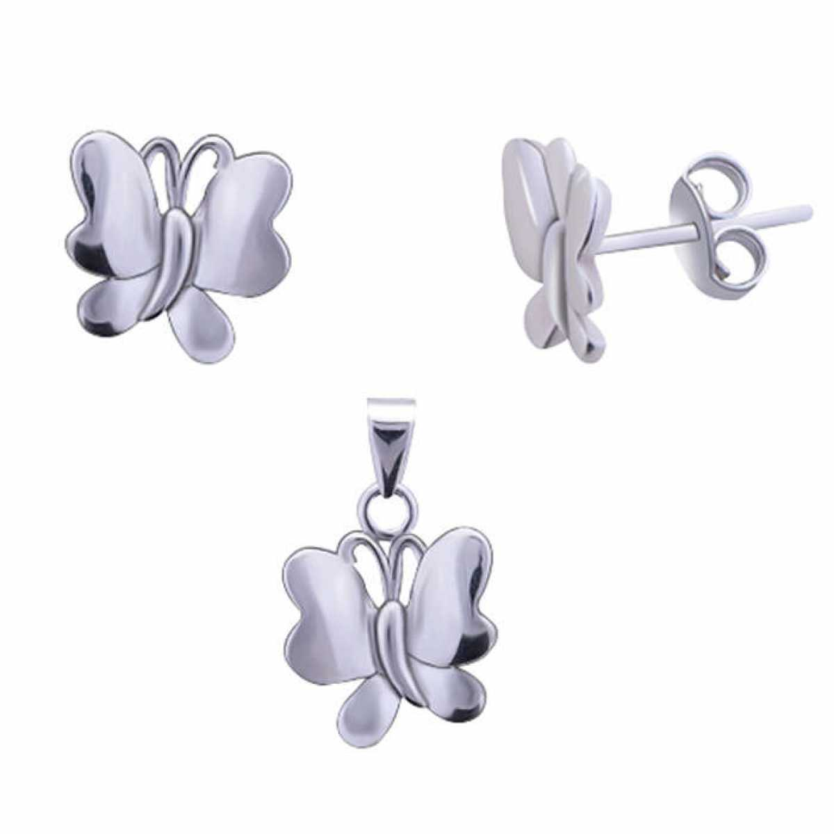 Silver Butterfly Pendant Set