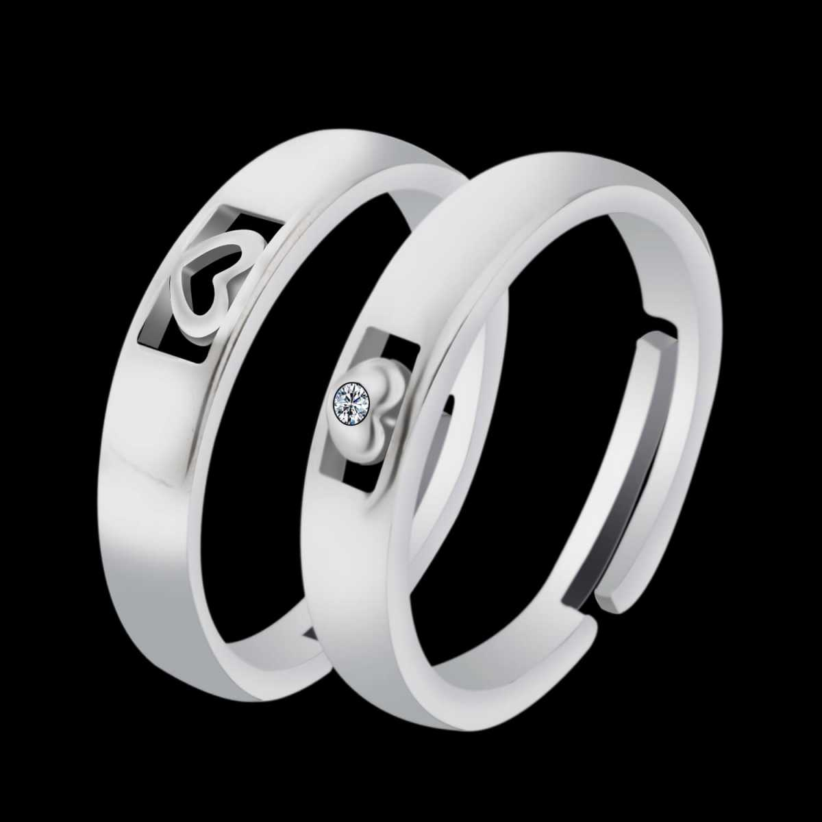Silver Shine Silver Plated Solitaire His and Her Heart shape matching  Adjustable Couple ring  for Men and Women,Couple ring  Girls and Boys-2 pieces
