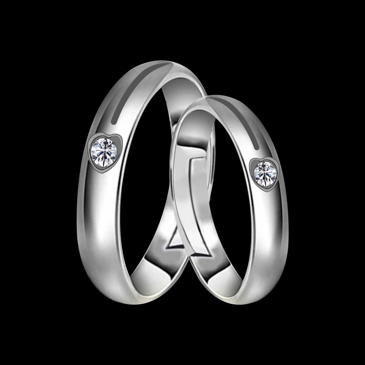 Silverplated Elegant Solitaire His And Her Adjustable proposal couple Ring For Men and Women Jewellery