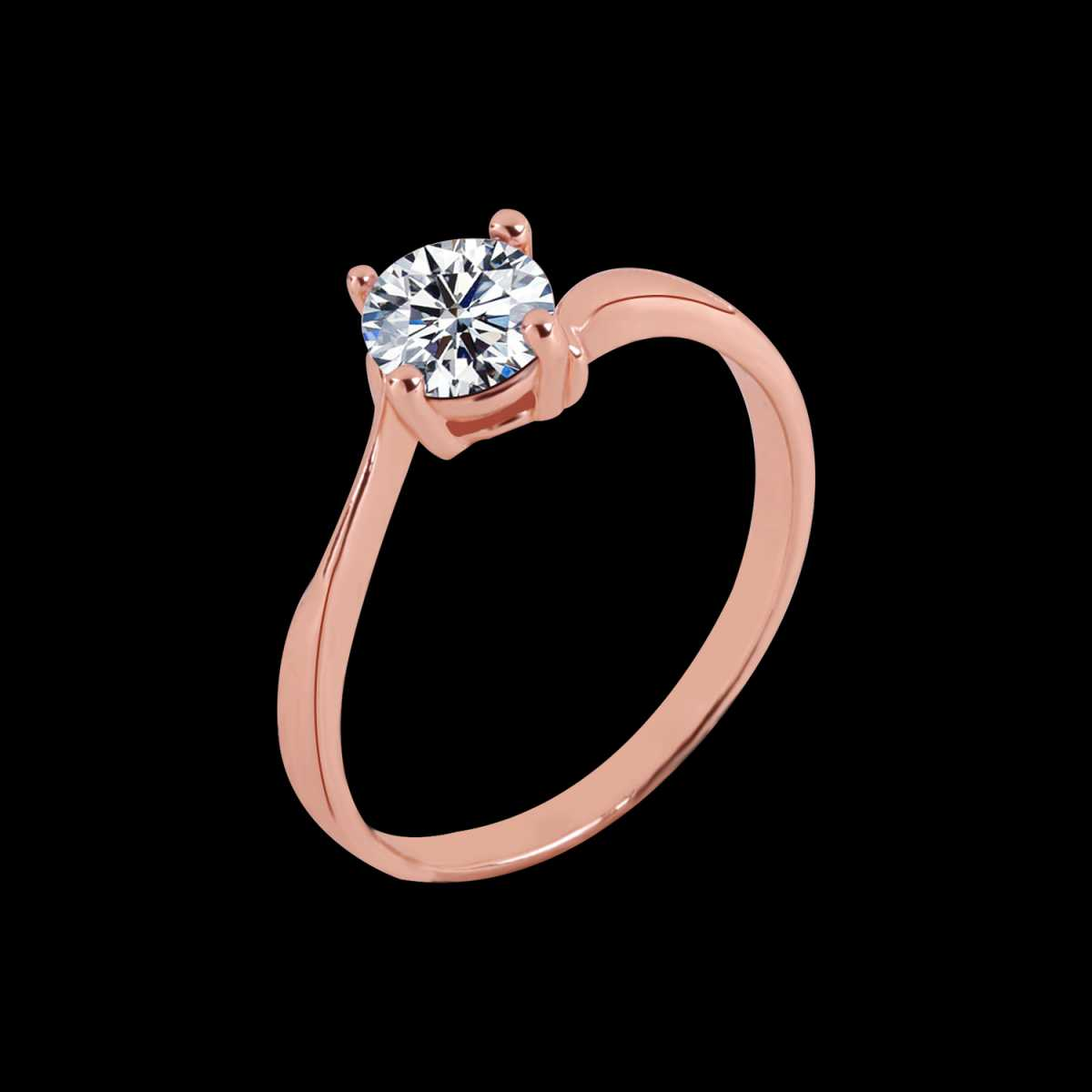 Silver Shine Rose Gold Plated Elegant Classic Crystal Curve Style Solitaire Ring for Girls and women,wedding ring,jewelry,diamonds,fashion jewelry,couple rings.