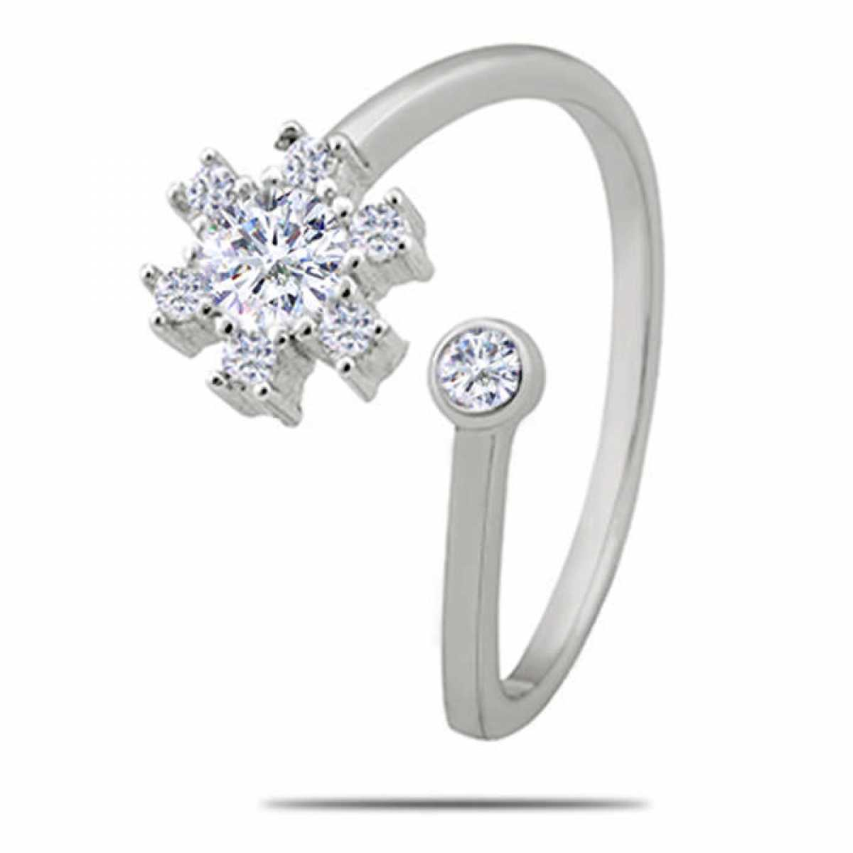 Round Diamond Silver Ring