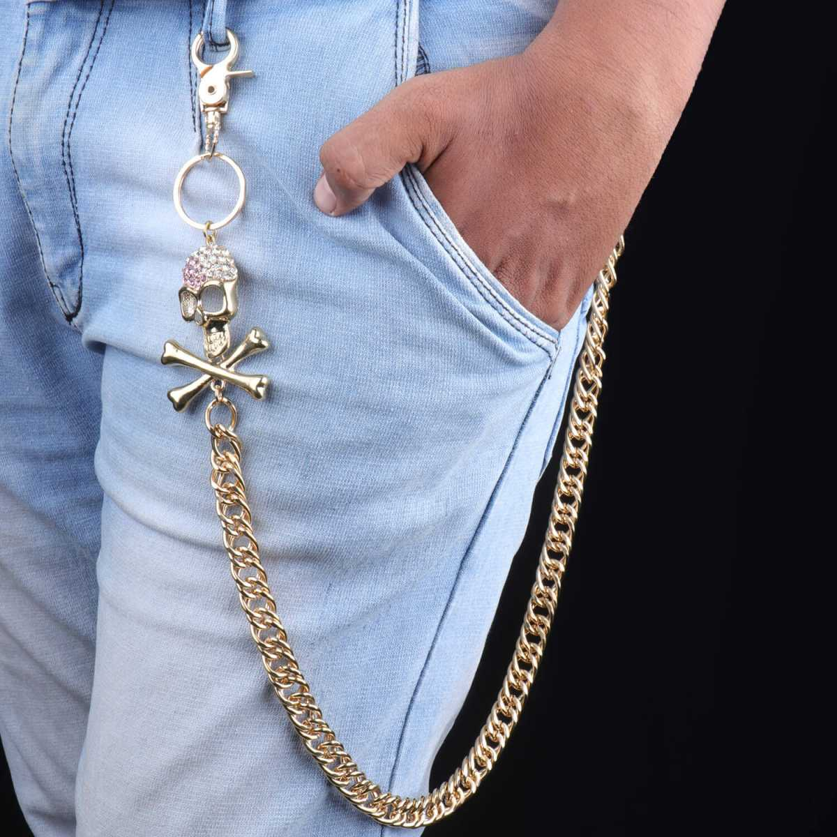SILVERSHINE goldplated Designer Skull HipHop Men's Trousers chain