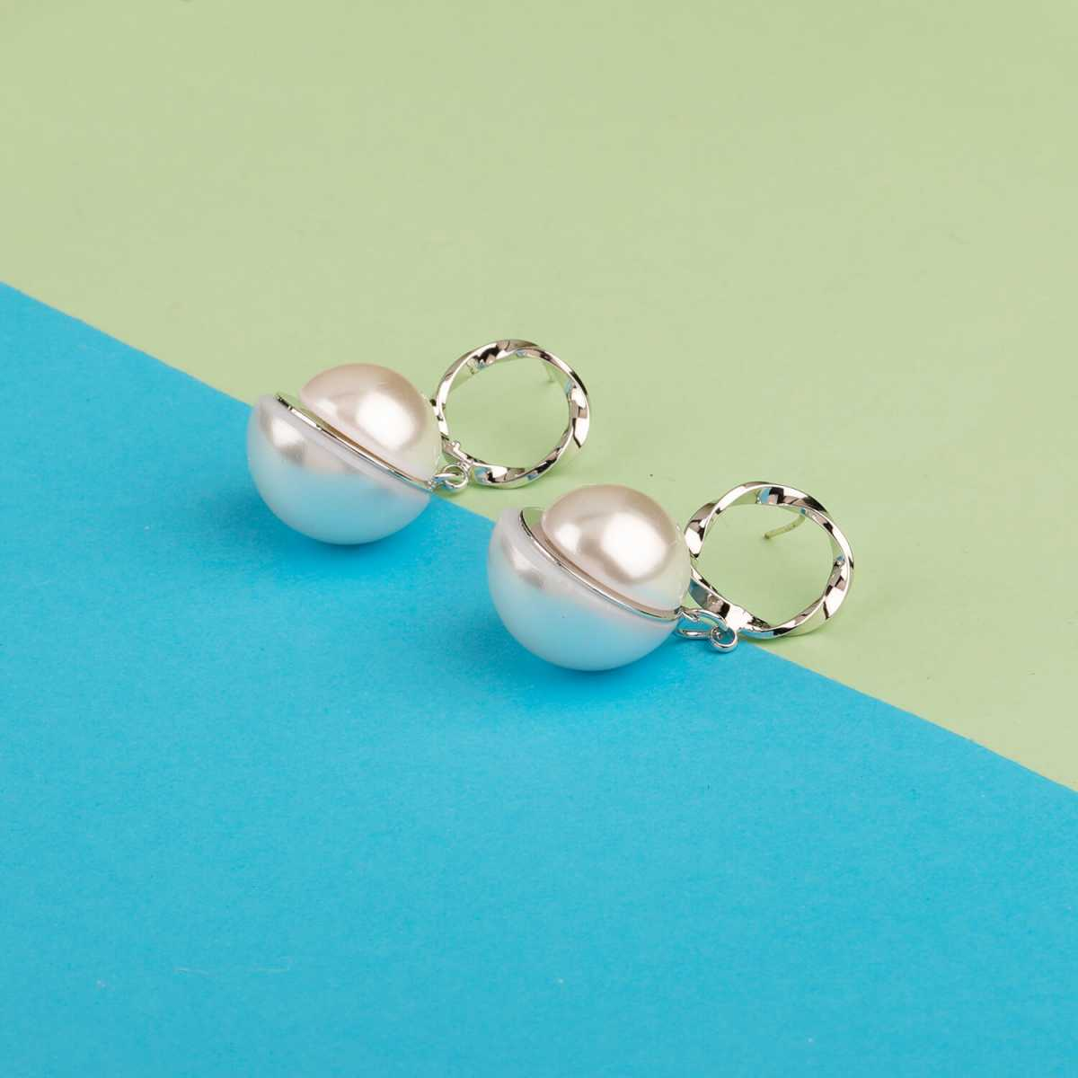 Silver Shine Silver Plated Stylist Partywear Pearl Drop Earring For Girls and Women Jewellery