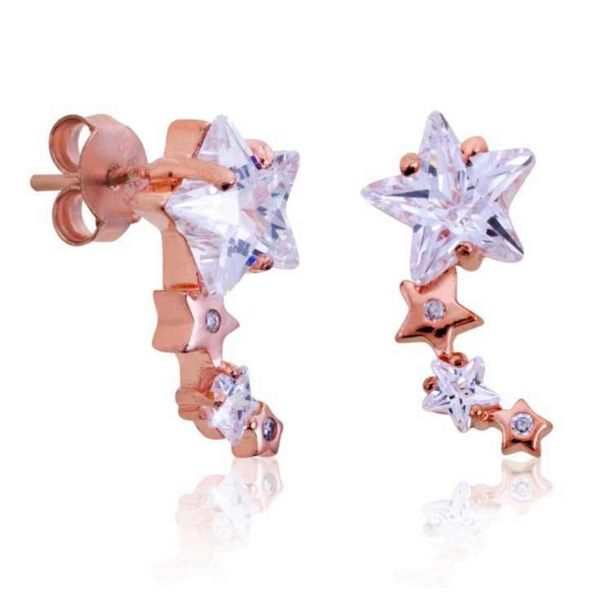 Rose Gold Star With Diamond Earring