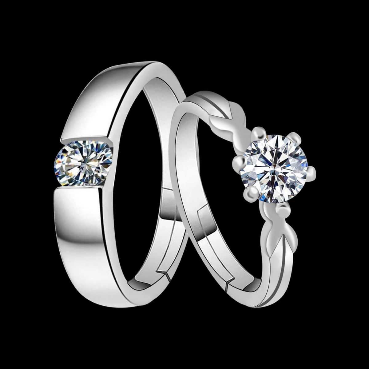 Silverplated mesmarising Solitaire His and Her Adjustable proposal couple ring For Men And Women Jewellery
