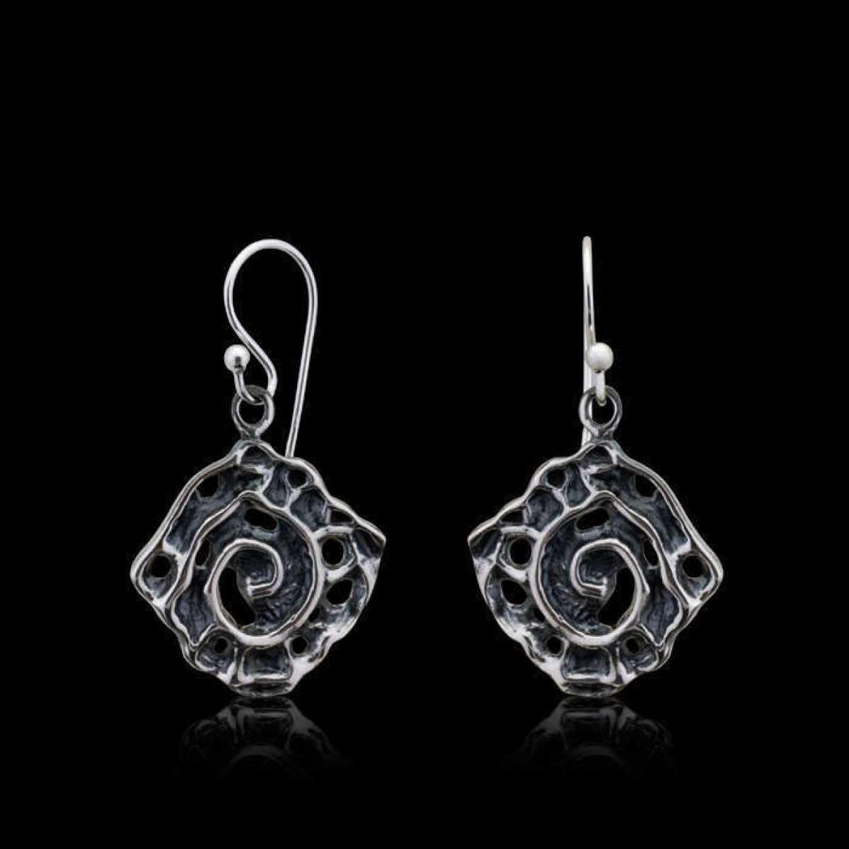 Black Flower Silver Drop Earring