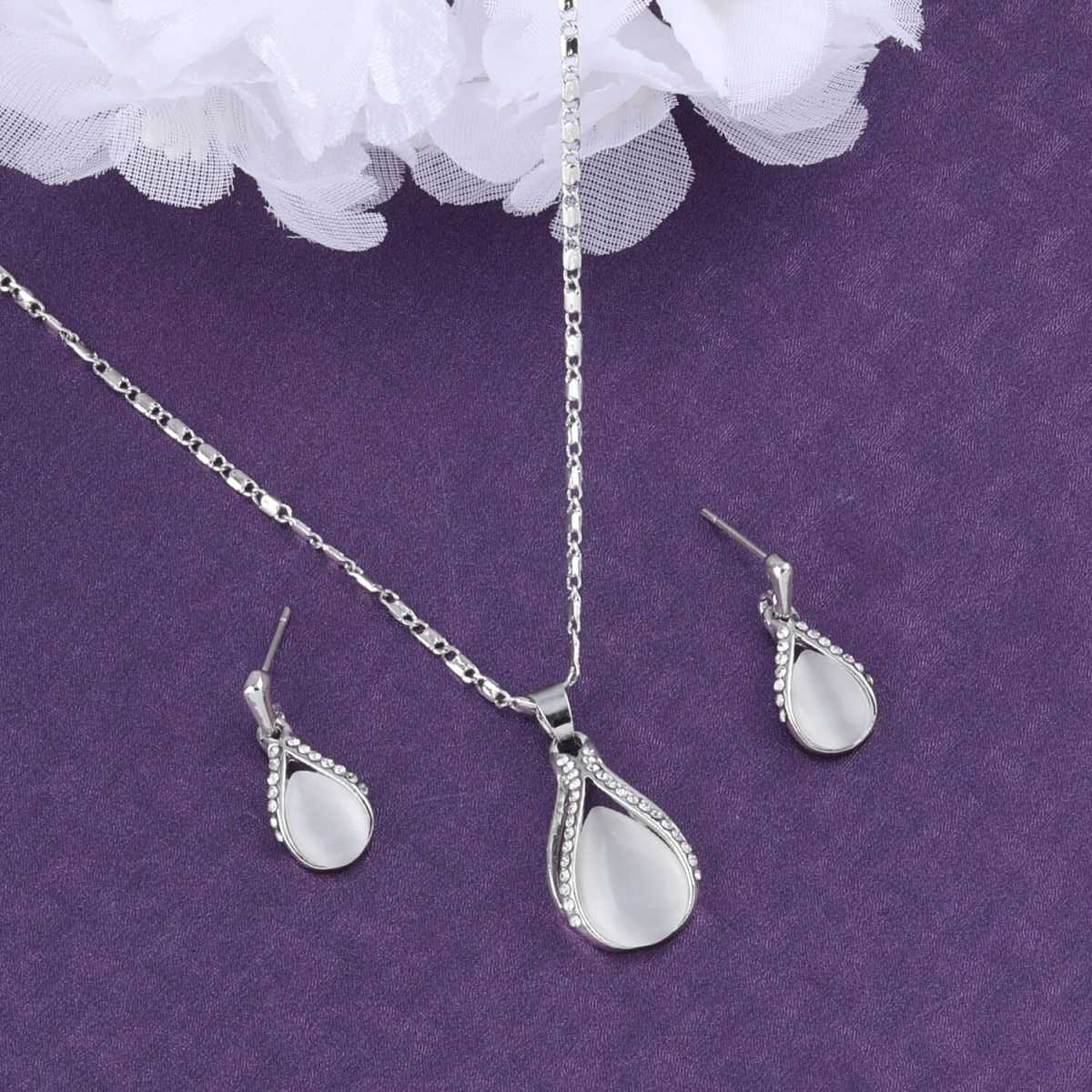 SILVER SHINE Delicate Silver Plated  Pendant Set For Women Girl