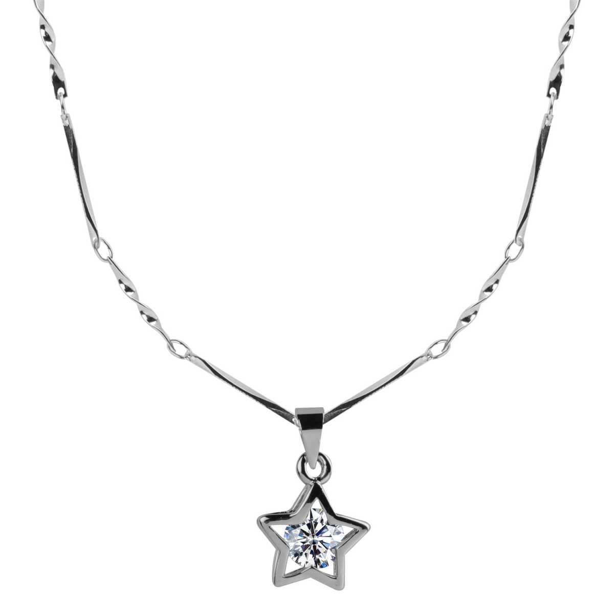 Silver Plated Chain With Solitaire Diamond In  New Look Star Shape Pendant  For Women