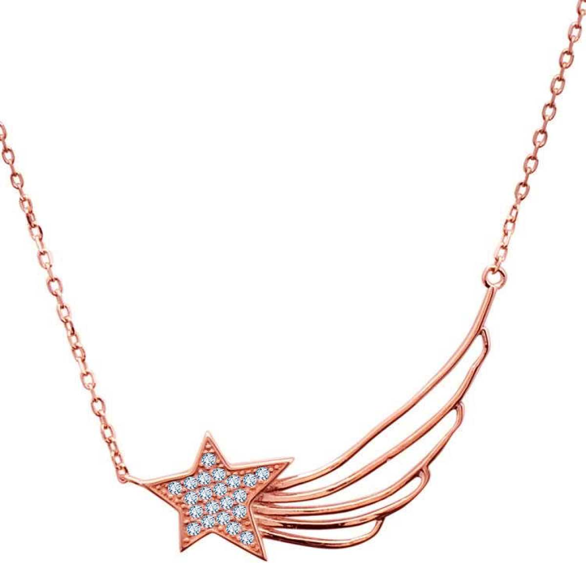 Rose Gold Star With Diamond  Chain