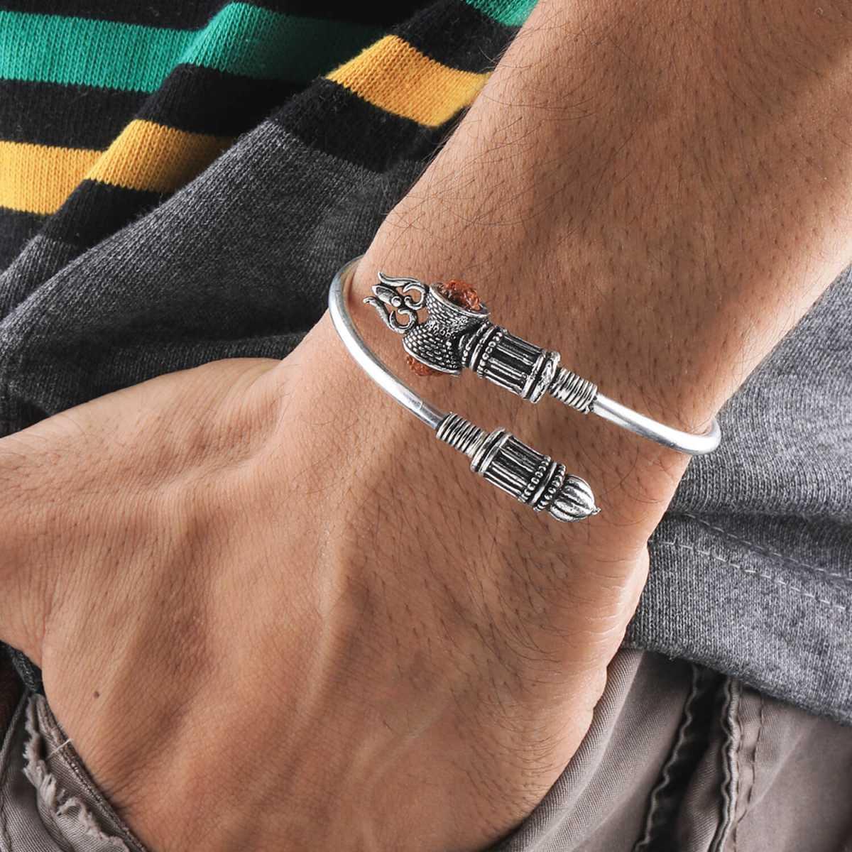 SILVER SHINE Adjustable Trishul Damroo Rudraksha Bahubali kada Bracelet Mahakal For Men Boys Girls