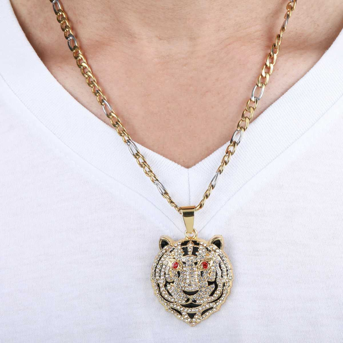SilverPlated Stylist Figaro Chain With Tiger Design pendant With Diamond Studded For Men and boy Jewellery