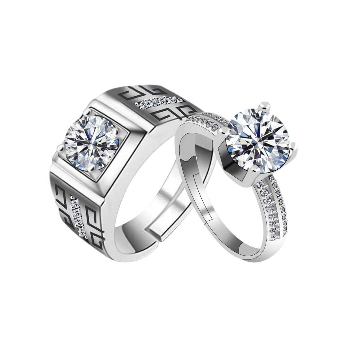 SILVERSHINE,silver plated with round crystal diamond and magnificent designer adjustable couple ring for men and women.